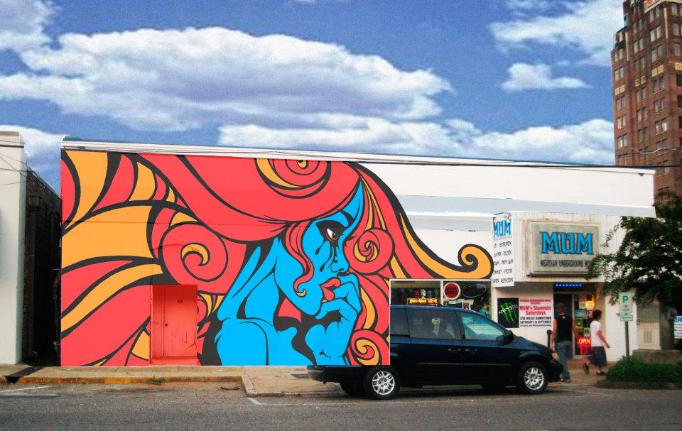 Exterior mural update meridian underground music for Exterior mural painting